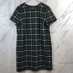 Banana Republic Green Plaid Knee Length Dress